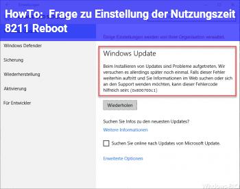 HowTo Frage zu Einstellung der Nutzungszeit – Reboot