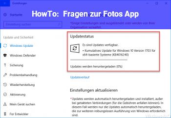"""HowTo Fragen zur """"Fotos"""" App"""