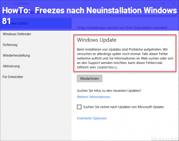 HowTo Freezes nach Neuinstallation Windows 8.1
