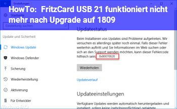 HowTo Fritz!Card USB 2.1 funktioniert nicht mehr nach Upgrade auf 1809
