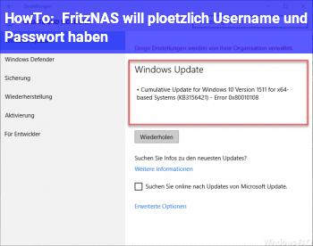 HowTo Fritz!NAS will plötzlich Username und Passwort haben
