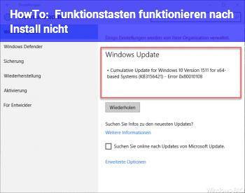 HowTo Funktionstasten funktionieren nach Install nicht