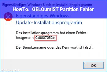HowTo [GELÖST] Partition Fehler
