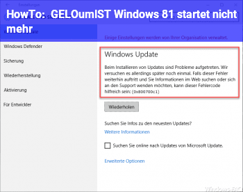 HowTo [GELÖST] Windows 8.1 startet nicht mehr