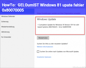 HowTo [GELÖST] Windows 8.1 upate fehler 0x80070005
