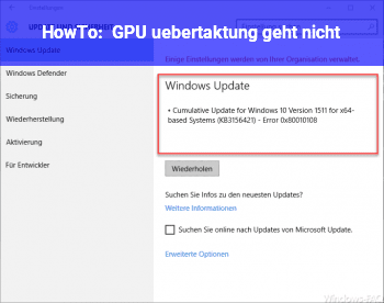 HowTo GPU übertaktung geht nicht