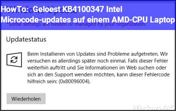 HowTo Gelöst: KB4100347  (Intel Microcode-updates) auf einem AMD-CPU Laptop