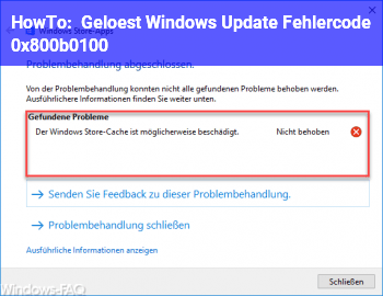 """HowTo """" Gelöst """" Windows Update Fehlercode: (0x800b0100)"""
