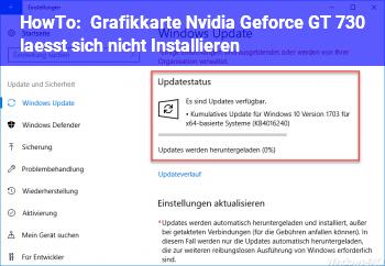 HowTo Grafikkarte Nvidia Geforce GT 730 lässt sich nicht Installieren