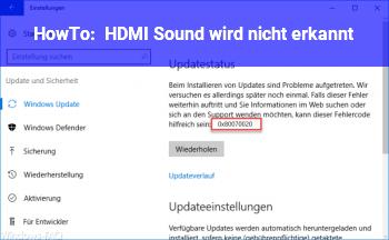HowTo HDMI Sound wird nicht erkannt