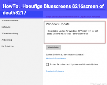HowTo Häufige Bluescreens ('screen of death')