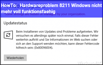 HowTo Hardwareproblem – Windows nicht mehr voll funktionsfähig.