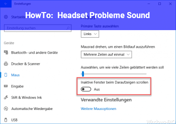 HowTo Headset Probleme (Sound)