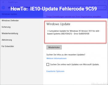 HowTo IE10-Update: Fehlercode 9C59
