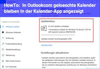 HowTo In Outlook.com gelöschte Kalender bleiben In der Kalender-App angezeigt