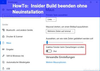 HowTo Insider Build beenden ohne Neuinstallation