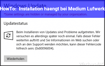 HowTo Installation hängt bei Medium / Lufwerk