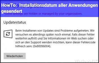 HowTo Installationsdatum aller Anwendungen geändert?