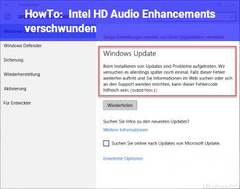 HowTo Intel HD Audio Enhancements verschwunden
