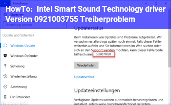 HowTo Intel Smart Sound Technology driver (Version 09.21.00.3755) Treiberproblem