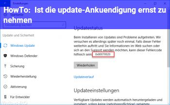 HowTo Ist die update-Ankündigung ernst zu nehmen?