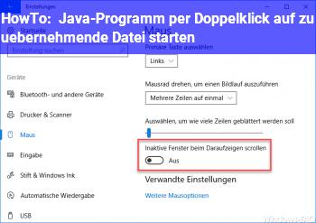 HowTo Java-Programm per Doppelklick auf zu übernehmende Datei starten