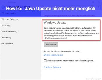 HowTo Java Update nicht mehr möglich?