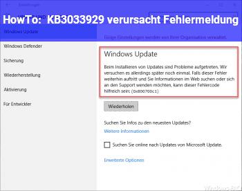 HowTo KB3033929 verursacht Fehlermeldung
