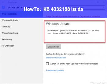 HowTo KB 4032188 ist da