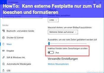 HowTo Kann externe Festplatte nur zum Teil löschen und formatieren!