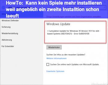 HowTo Kann kein Spiele mehr installieren, weil angeblich ein zweite Installtion schon läuft
