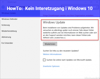 HowTo Kein Interetzugang i Windows 10