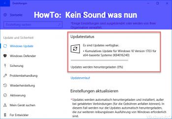 HowTo Kein Sound, was nun?