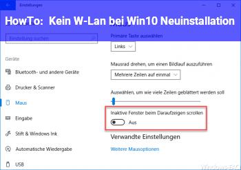 HowTo Kein W-Lan bei Win10 Neuinstallation