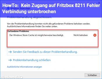 HowTo Kein Zugang auf Fritzbox – Fehler: Verbindung unterbrochen