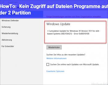 HowTo Kein Zugriff auf Dateien / Programme auf der 2. Partition?