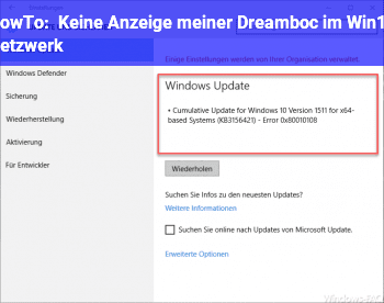 HowTo Keine Anzeige meiner Dreamboc im Win10 Netzwerk