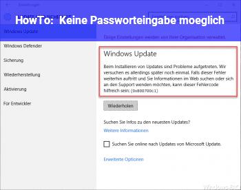 HowTo Keine Passworteingabe möglich