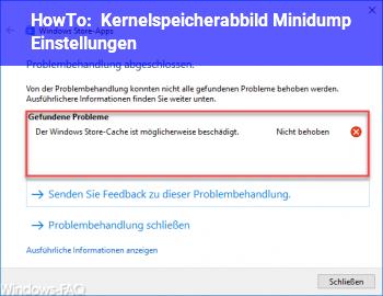 HowTo Kernelspeicherabbild Minidump Einstellungen
