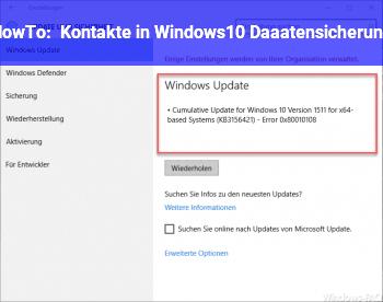 HowTo Kontakte in Windows10 Daaatensicherung