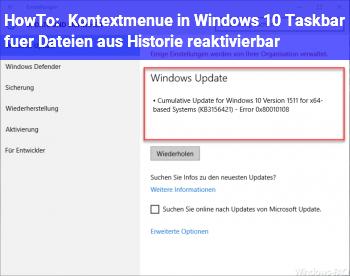 HowTo Kontextmenü in Windows 10 Taskbar für Dateien aus Historie reaktivierbar?