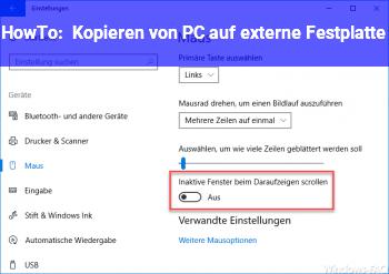 HowTo Kopieren von PC auf externe Festplatte