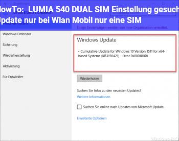 HowTo LUMIA 540 DUAL SIM : Einstellung gesucht: Update nur bei Wlan, Mobil nur eine SIM