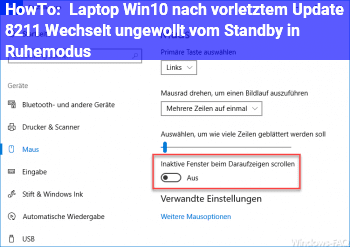 HowTo Laptop Win10 nach vorletztem Update – Wechselt ungewollt vom Standby in Ruhemodus