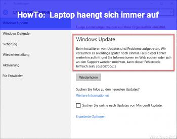 HowTo Laptop hängt sich immer auf