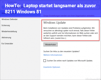 HowTo Laptop startet langsamer als zuvor – Windows 8.1