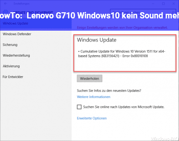 HowTo Lenovo G710 Windows10 kein Sound mehr