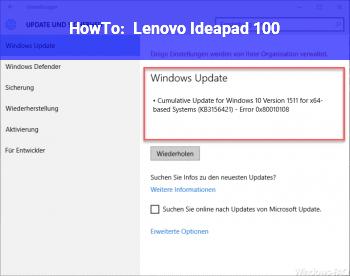 HowTo Lenovo Ideapad 100