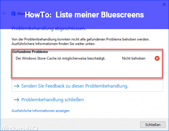 HowTo Liste meiner Bluescreens