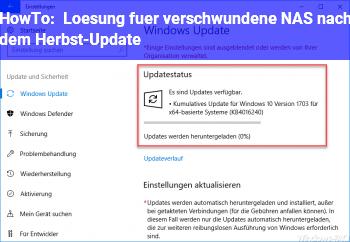 HowTo Lösung für verschwundene NAS nach dem Herbst-Update